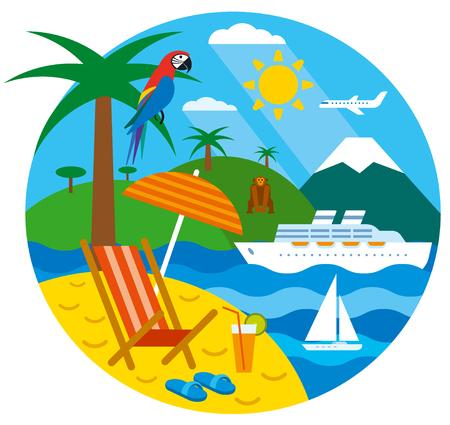 illustration journey: tropical travel concept flat illustration, sea resort, cruise and journey