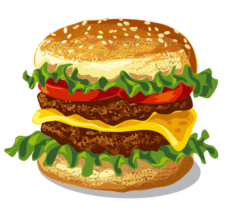 grilled: illustration of fast food hamburger with cheese, lettuce and lettuce