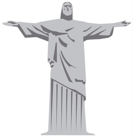 corcovado: illustration of statue of jesus christ in brasil rio de janeiro Illustration