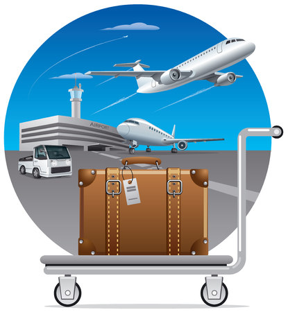 transfer: illustration of concept delivery luggage, suitcase in airport