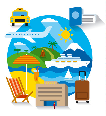 excursions: travel and tourism concept flat illustration, sea resort, cruise and journey