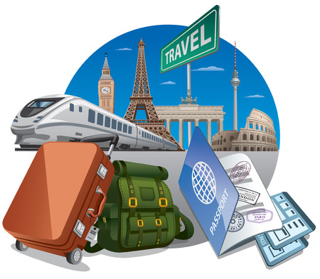 illustration of concept travel by the train, luggage and passport