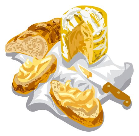 art illustration of sliced fresh cheese camembert and bread on the napkin