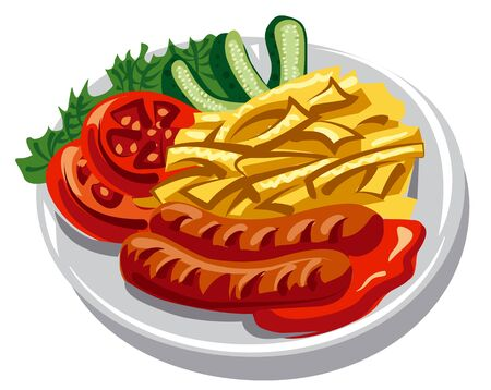plate with grilled sausages, fries and salad Illustration