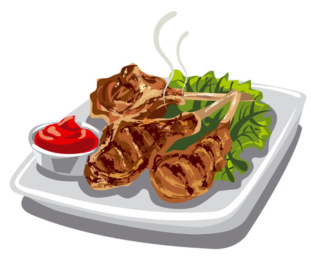cooked meat: illustration of grilled lamb chops with tomato sauce and lettuce