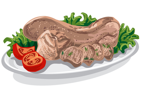 boiled: illustration of boiled cooked veal tongue with tomatoes and lettuce