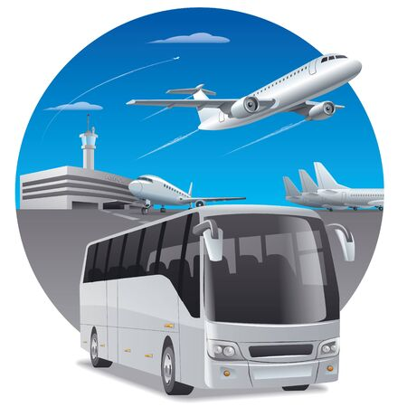 transfer: illustration of bus in airport for passengers