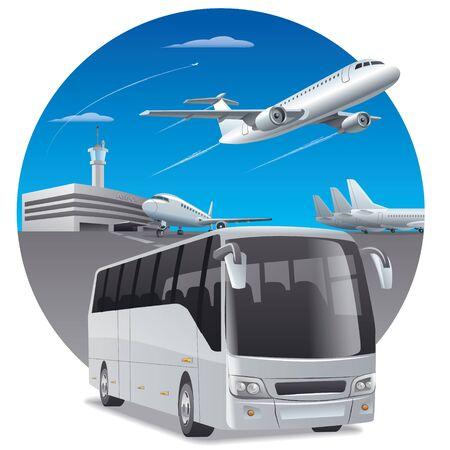 ilustración de autobús en el aeropuerto para los pasajeros