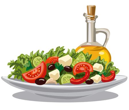 illustratie van verse groene salade met tomaten, komkommers, olijven en olijfolie