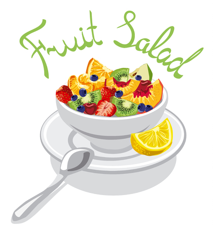 fruit salad: illustration with inscription of fresh fruit salad with peach, apple, strawberry, kiwi and cherry in bowl Illustration