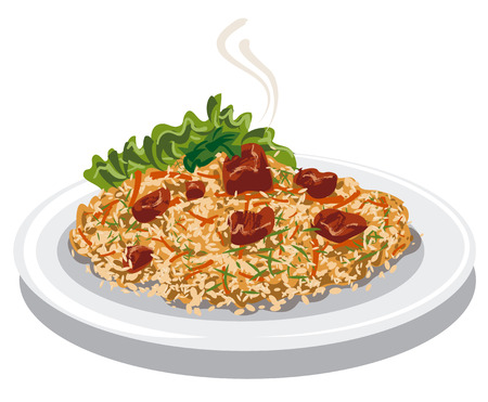 dish: illustration of hot pilaf with rice, lamb meat and carrot on plate Illustration