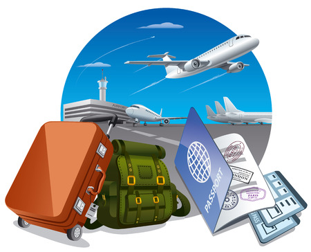 airplane travel: illustration of concept travel by the airplane, luggage in airport and passport with tickets