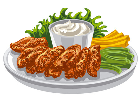 fried chicken wings: roasted in batter chicken wings with french sauce and fries with salad
