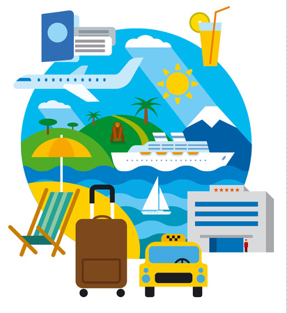 travel and resort concept flat illustration, sea lounge and journey