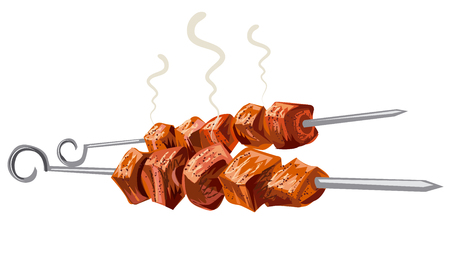 grilled: meat kebab grilled, veal, pork, mutton, steaks on skewers, picnic with grilled meat