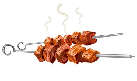 meat kebab grilled, veal, pork, mutton, steaks on skewers, picnic with grilled meat Vektorové ilustrace