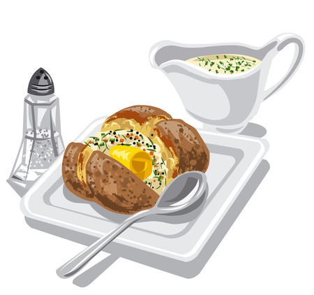 baked: baked potato with sauce and butter on plate