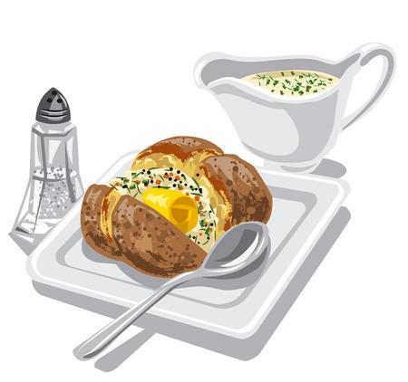 cebollines: papa al horno con salsa de mantequilla en un plato