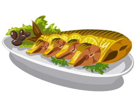 smoked mackerel on plate with olives and lettuce Illustration