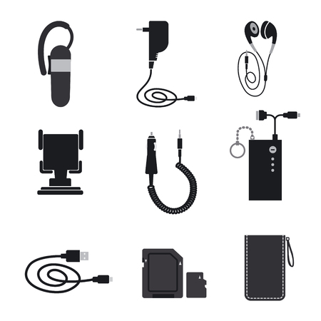 illustration of mobile phone accessories devices Imagens - 63784464