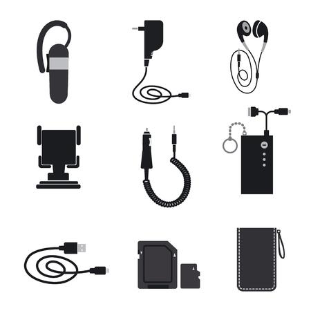 Illustrazione dei dispositivi accessori del telefono cellulare Vettoriali