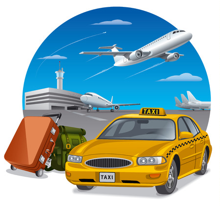 arrival: illustration of taxi and luggage in airport