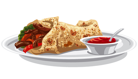 grilled vegetables: illustration of eastern food shawarma, pita with grilled meat and vegetables Illustration