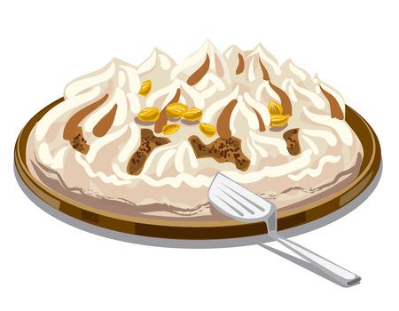 tart: illustration of ice cream tart with chocolate