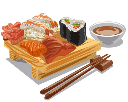 salmon dinner: illustration of japan sea food, sushi rolls with sauce Illustration