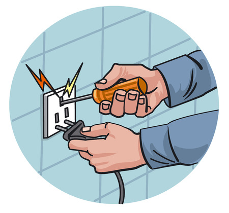dangerous work: illustration of dangerous work with electricity