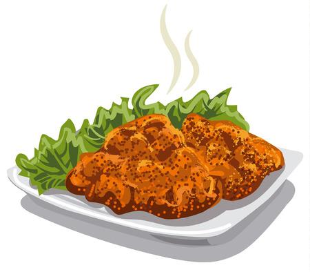 Ilustracja mięsa sznycel z sałaty na talerzu