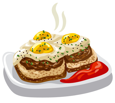 tomato sauce: illustration of burgers with fried eggs and tomato sauce