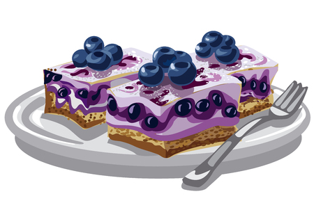 blueberry cheesecake: illustration of blueberry creamy cakes on plate