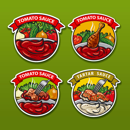 sauces: illustrations of tomato and garlic sauces stickers