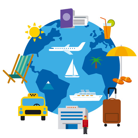 travel around the world concept flat illustration, sea resort, cruise and journey