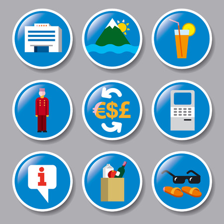 money button: set of icons of hotel service, resort, cruise and journey Illustration