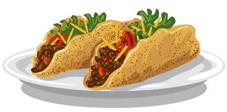 carne picada: ilustración de tacos con carne picada, los tomates y las patatas fritas Vectores