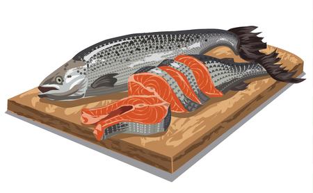 salmon: illustration of raw sliced salmon fish on wooden board Illustration