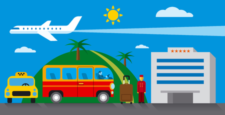 excursions: hotel transfer and resort concept flat illustration