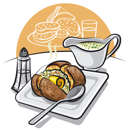 illustration of baked potato with sauce and butter on plate
