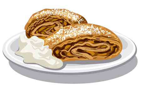 sour cream: illustration of apple strudel with sour cream on plate