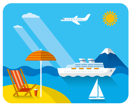 tropical travel concept flat illustration, sea and beach resort, cruise and journey Illustration