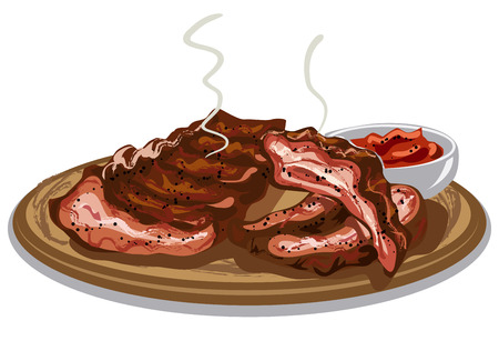 spare ribs: illustration of grilled spare ribs with tomato sauce on wooden board Illustration