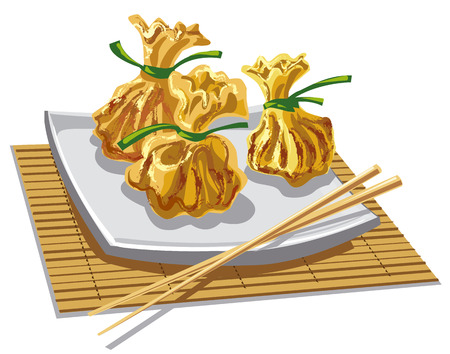 sum: illustration of dim sum chinese dumplings on plate