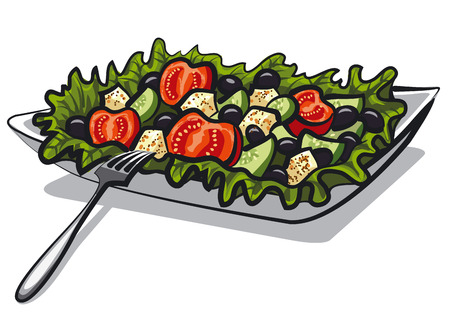 cucumbers: illustration of greek salad with tomatoes, lettuce, olives and cucumbers Illustration