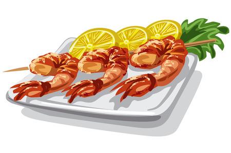 fried shrimp: illustration of grilled shrimps on skewer with lemon and lettuce Illustration