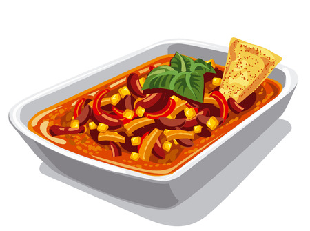 spicy: illustration of chilly spicy con carne dish Illustration