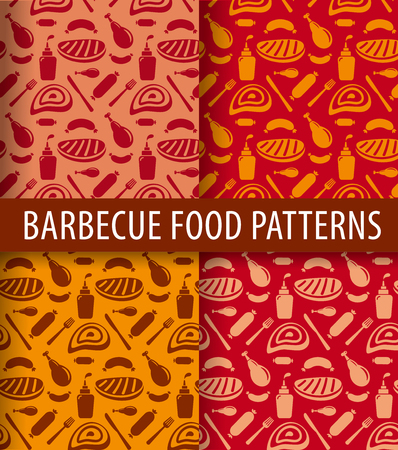 grilled meat: set of different barbecue and grilled meat seamless patterns