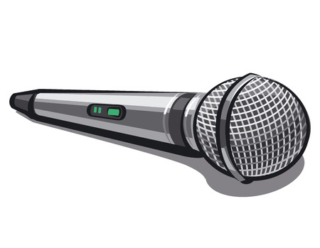 plugged: illustration of modern plugged microphone