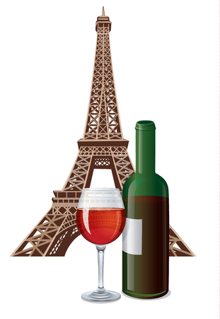 french wine: illustration of bottle and glass of french wine and eiffel tower Illustration